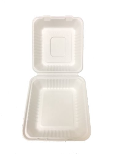 "Bagasse Hinged Lid Container,  Deep Medium 7.875 X 8 X 3.19"" - 200/Cs (2 X 100)"