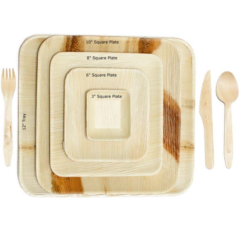 3 Inch Square Fallen Leaf Plates Elegant Compostable Disposable