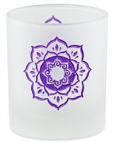 Etched Glass Lotus Votive