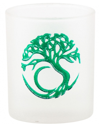 Etched Glass Tree of Life Votive