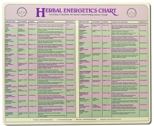 "Ayurvedic Herbal Energetics Laminated Chart 9"" x 12"""