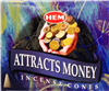 Attract Money Hem Incense Cones: pack of 10