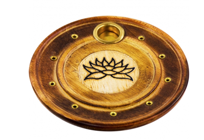 Wood round cone/stick Incense Holder: Lotus
