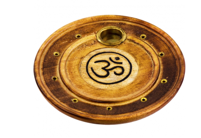 Wood round cone/stick Incense Holder: Om