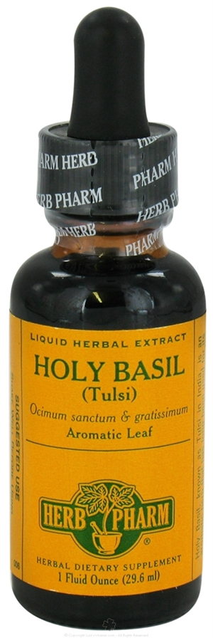 Holy Basil (Tulsi): Dropper Bottle / Organic Alcohol Extract: 1 Fluid Ounce
