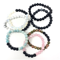 Gemstone Lava Bead Bracelet : 8mm