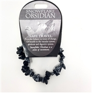 Snowflake Obsidian Chip Bracelet : Safe Travel