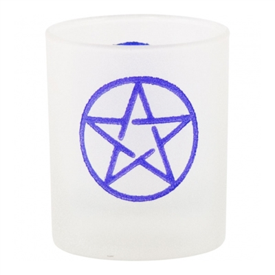 Pentacle Etched Glass Votive-Candle Holder