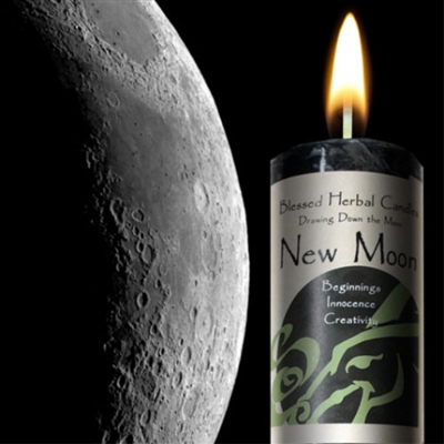 Drawing Down the Moon Pillar Candle -- New Moon