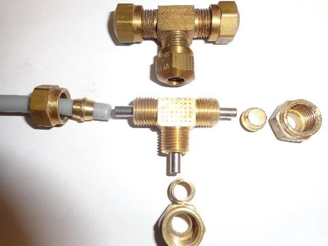 AIR LINE BRASS TEE FITTING -GMC MOTORHOME