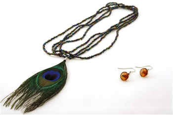 Peacock Feather Necklace and Earrings