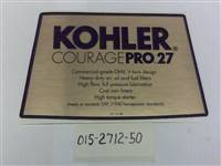 Bad Boy Mower Part - 015-2712-50 - Decal Air Cleaner Cover-27 Kohler