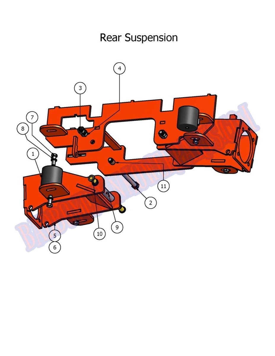 Rear Suspension Assy : Bad boy mower part diesel rear suspension assembly