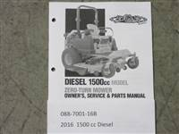 Bad Boy Mower Part - 088-7001-16B - 2016 1500cc Diesel Owner's Manual
