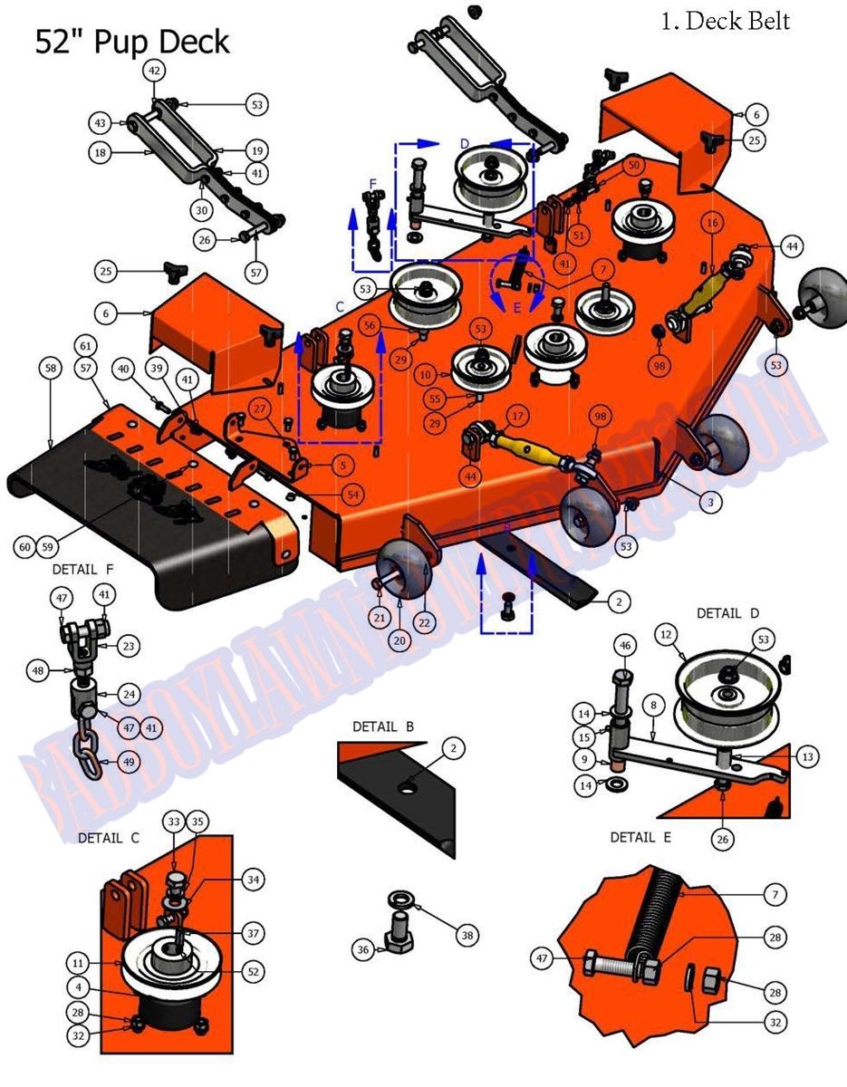 ZT 50/'/' Deck 50/'/' Bad Boy Zero Turn Mower Deck Blades Lightning Pup