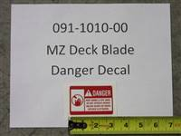 Bad Boy Mower Part MZ Deck Blade Danger Decal