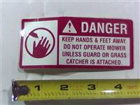 Bad Boy Mower Part Danger Decal-Spindle/Discharge