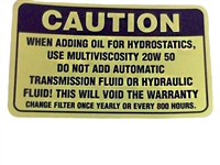 Bad Boy Mower Part Caution Decal - Hydraulic Tank