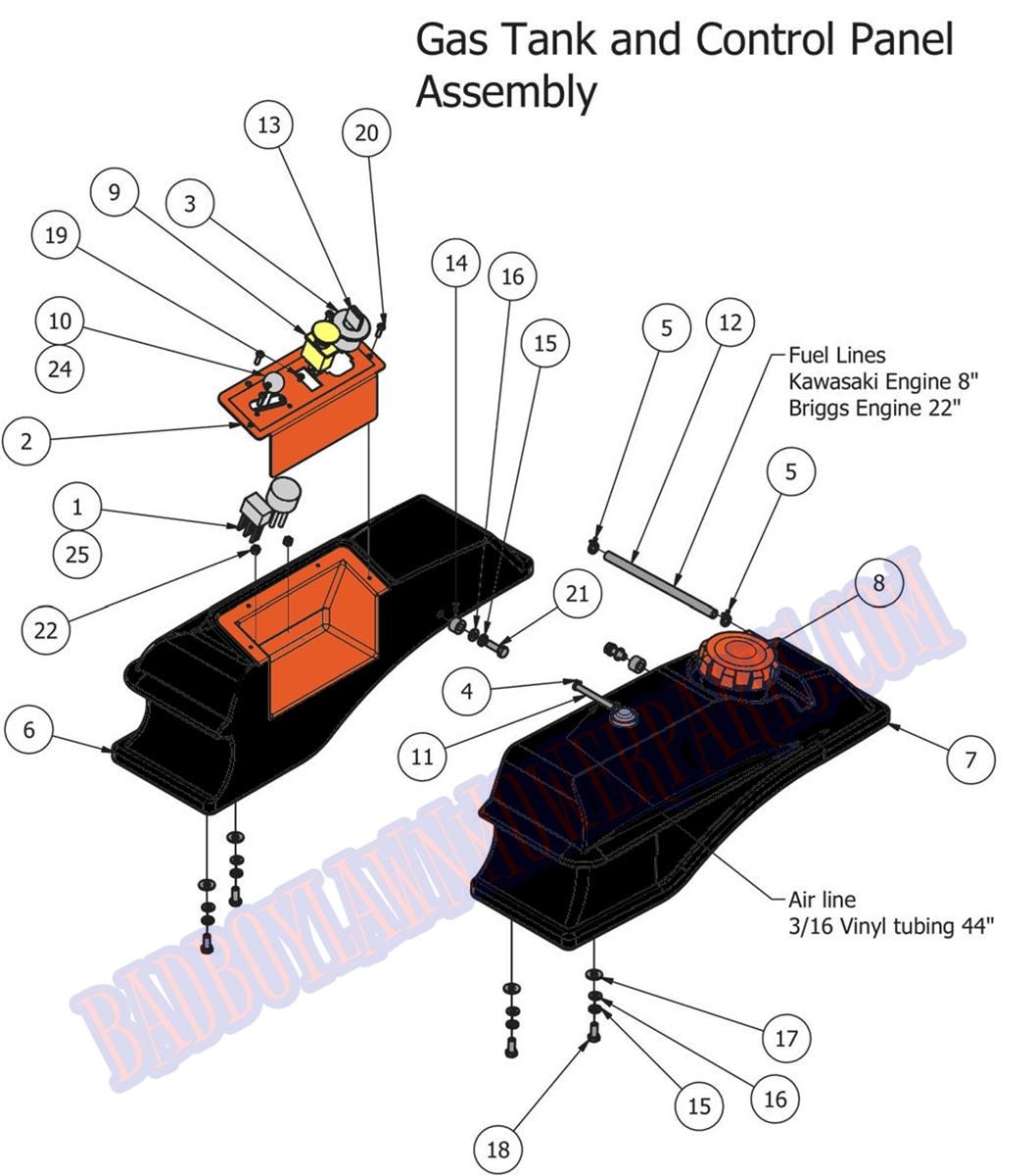 Bad Boy Mower Part, 2013 MZ FUEL TANK & CONTROL PANEL Bad Boy Mower Wiring Diagram on