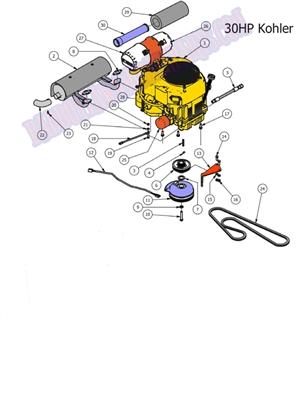 Bad Boy Mower Part, 2011 CZT ENGINE (27Hp Kohler)