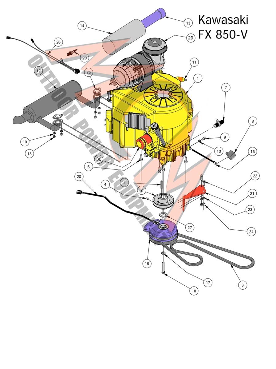 Bad Boy Mower Part, 2017 OUTLAW XP KAWASAKI FX850V ENGINE Kawasaki Fx V Schematic Diagram on