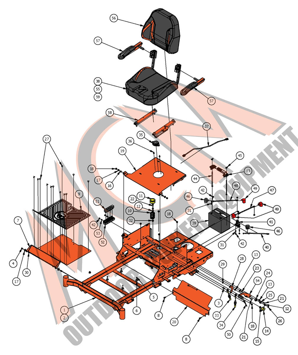 Bad Boy Mower Part, 2017 ZT ELITE SEAT FRAME EMBLY Bad Boy Mower Wiring Diagram on