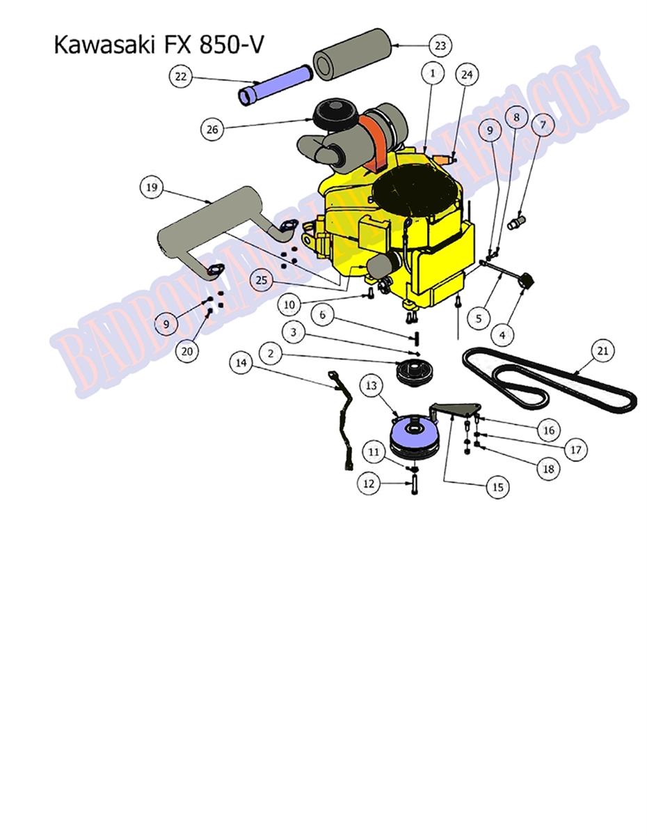 Bad Boy Mower Part, 2012 OUTLAW ENGINE (FX850V Kawasaki) Kawasaki Fx V Schematic Diagram on