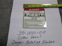 Bad Boy Mower Part - 391-0001-00 - Cutter-Decal-Danger Rotating Blades