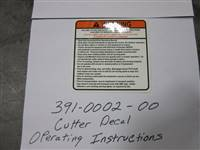 Bad Boy Mower Part - 391-0002-00 - Cutter Decal-Operating Instructions