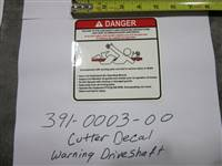 Bad Boy Mower Part - 391-0003-00 - Cutter Decal-Warning Driveshaft