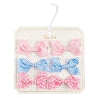 Girls' Gingham Bitty Bow Clip Set Available at Little-minnows.com