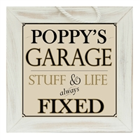 Poppy's Garage Sign 9x9 and Me available at Little-Minnows.com