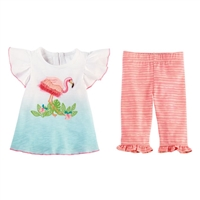 Girls' Flamingo Fringe Tunic and Capri Set available at www.Little-Minnows.com