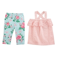 Girls' Rose Eyelet Tunic and Capri Set available at Little-Minnows.com