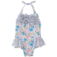 Girls Floral One-Piece Swimsuit  UPF 50+ available at Little-Minnows.com
