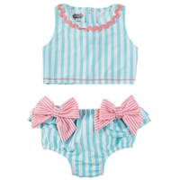 Girls' Aqua Bow 2 pc Swimsuit at Little-Minnows.com
