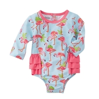 Girls Flamingo One-Piece Rash Guard UPF 50+ available at Little-Minnows.com