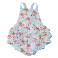 Flamingo Ruffle Sunsuit available at Little-Minnows.com