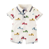 Boys' Tractor Collar Romper at Little-Minnows.com