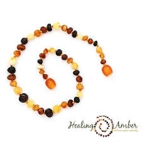 "Multi Circle Healing Amber 11"" Necklace"