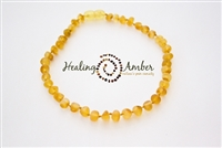 "Raw Gold Circle Healing Amber 11"" Necklace"