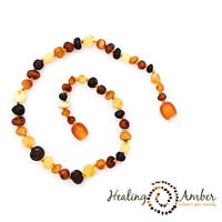 "Raw Multi Circle Healing Amber 11"" Necklace"