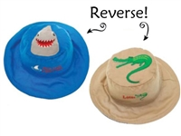 Sun Hat with Strap Reversible 2 in 1 and UPF 50++ Shark/Alligator