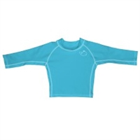 Aqua Long Sleeve Rashguard UPF 50+ Available at www.little-minnows.com