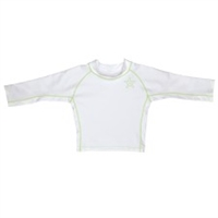 White Long Sleeve Rashguard UPF 50+ Available at www.little-minnows.com