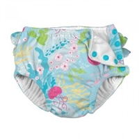 Aqua Coral Reef Fun Ruffle Snap Reusable Swim Diaper