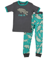 Children's No Wake Zone Manatee Pajama Sleep Set at Little-Minnows.com