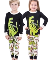 Childrens Childrens Long Sleeve Pajamas Dino-Snore Pajamas Little-Minnows.com