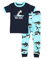 Children Wide Awake Shark Pajamas Sleep Set Little-Minnows.com