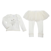 Girls Tutu Ivory Outfit White Dancing Bear Two Piece Set at Little-Minnows.com
